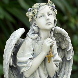 Lovely Praying Angel With Cross Garden Statue