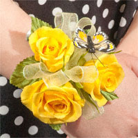 For My Girl Corsage #09COR384 Viviano small wristlet of spray roses and butterfly for Daddy-Daughter dance