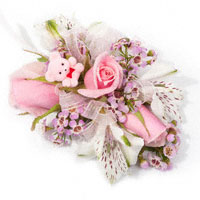 It's A Girl! Corsage #09COR390 Viviano baby shower pink, lavender, & white wrist or pin-on with tiny teddy bear