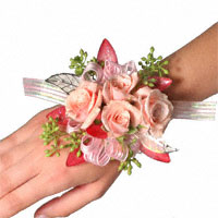 Sparkle Corsage #12COR426 Viviano Flower Shop women's special event body flowers, pink and silver with glitter