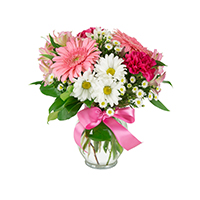 Cherish #132617 Viviano Flower Shop pink floral arrangement with gerbera daisies, carnations, alstroemeria, mini carnations