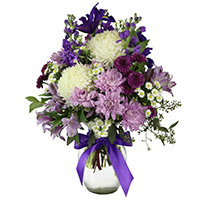 Serenity #132717 Viviano Flower Shop floral arrangement in shades of purple with mums, irises, alstro, and stock