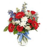 American Dream #132809 Viviano Flower Shop red, white, blue patriotic arrangement