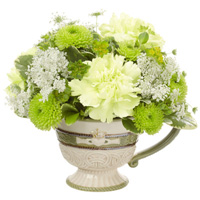 Love & Friendship #149312 Viviano Flower Shop Celtic St. Patrick's Day Irish tea cup w/ claddaugh and green flowers