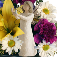 Angelic Wishes #149615 Viviano floral  design: flowers and Willow Tree gift sculpture