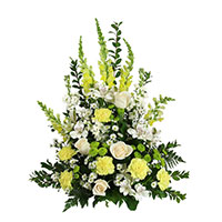 Peaceful #150109 Viviano Flower Shop traditional sympathy  arrangement in green, yellow, and  and white for funeral and memorial