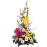 Butterfly Meadow #150309 Viviano Flower Shop  traditional sympathy arrangement  for funeral and memorial