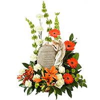 In Loving Memory #150709W Viviano Flower Shop sympathy floral arrangement with  keepsake poem angel statue