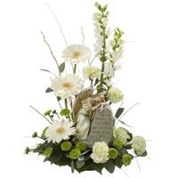 Rest In God #150809W  Viviano Flower Shop sympathy arrangement w/ angel memorial garden statue