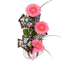 Chocolate Fix #170610 Viviano Flower Shop floral arrangement: gerbera daisies and chocolate in a mug