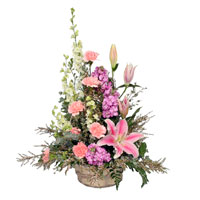 Fond Memories #177709 Viviano Flower Shop pink & lavender floral basket arrangement for sympathy, funeral, memorial