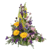 Golden Dusk #177809  Viviano Flower Shop sympathy basket floral arrangement in gold  & purple: iris, daisies, snapdragon