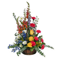 Faithful #177909 Viviano Flower Shop traditional sympathy  basket floral arrangement in bold colors for funeral, memorial