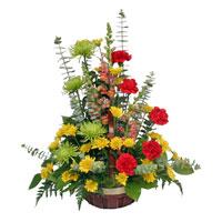 Warm Expressions #178109 Viviano Flower Shop bright floral sympathy basket arrangement