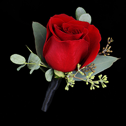 Monte Carlo Boutonniere #17BOUT373 Viviano prom homecoming and special event design of a rose w accent greens