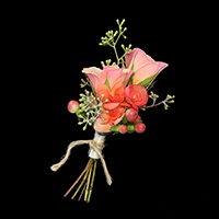By Your Side Boutonniere #17BOUT378 Viviano prom homecoming and special event design bouquette style in coral