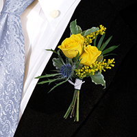 Midsummer Boutonniere #17BOUT379 Viviano Flower Shop for prom homecoming in blue and yellow bouquette style