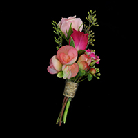 Charming Boutonniere #17BOUT407 Viviano Flower Shop for prom homecoming in pinks  bouquette style