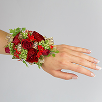Scarlett Corsage #17COR394 Viviano homecoming prom & special event in shades of red with gold ribbon loops
