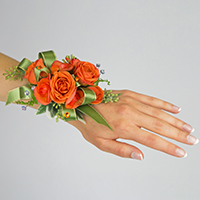 Spice Corsage #17COR392 Viviano prom homecoming and special event design with ribbon accent