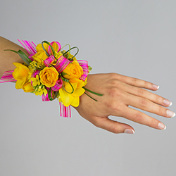 Have Fun Corsage #17COR393 Viviano homecoming prom & special events ribbon in fuchsia and blooms in yellow