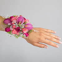 Fancy Corsage #17COR394 Viviano homecoming prom & special event in pink with ribbon and crystal sprays