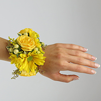 Glow Corsage #17COR409 Viviano Flower Shop cuff bracelet with spray roses and  daises for prom and homecoming