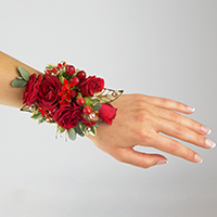 Red Carpet Corsage #17COR414 Viviano Flower Shop homecoming prom & special event in red w gold embellishments on stretchy band