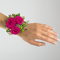 Glam Corsage #17COR416 Viviano homecoming prom & special event in hot pink w berries and rhinestone sprays