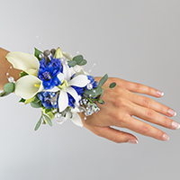 Atlantis Corsage #17COR418 Viviano prom homecoming and special event design in blue & white