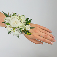 Starlight Corsage #17COR419 Viviano prom homecoming and special event design w white flowers & rhinestone sprays
