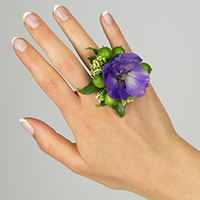 Amethyst Ring #17FR02 Viviano purple delphinium with berries and greenery for special events
