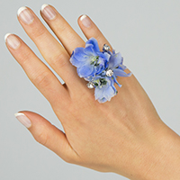 True Blue Ring #17FR04  Viviano delphinium ring w rhinestone spray for prom homecoming and events