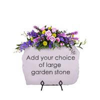 Serene Stone Tribute #19013 Viviano Flower Shop floral sympathy arrangement to accent a  keepsake garden stone