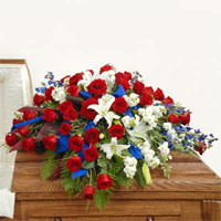 Patriotic Casket Spray #193010 Viviano Flower Shop floral  cover arrangement in red, white,  and blue