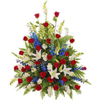 Patriotic Side Piece #193110 Viviano Flower Shop funeral arrangement in red, white, and blue