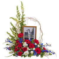 Patriotic Memorial #193410 Viviano Flower Shop tribute arrangement in red, white, and blue