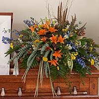 Woodland Casket Spray #194016 Viviano Flower Shop funeral service floral arrangement seasonal covering