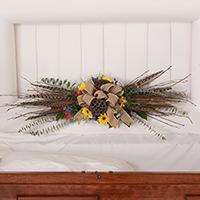 Woodland Lid Piece #194116 Viviano Flower Shop funeral service floral arrangement seasonal accent