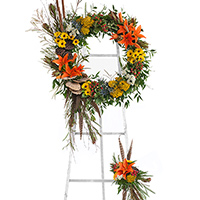 Woodland Wreath on Easel #194316 Viviano Flower Shop funeral & memorial service floral seasonal accent arrangement