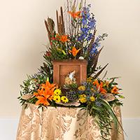 Woodland Memorial #194516 Viviano Flower Shop seasonal memorial service tribute or cremation arrangement