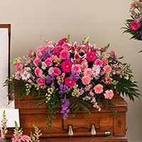 Adored Casket Spray #195016 Viviano Flower Shop funeral service floral arrangement covering