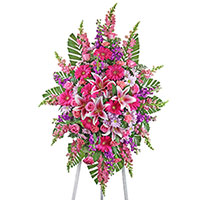 Adored Spray on Easel #195516 Viviano Flower Shop funeral service floral arrangement collection accent design