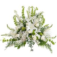 White Linen Side Piece #197116 Viviano Flower Shop funeral service floral arrangement covering