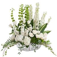 White Linen Floor Piece #197216 Viviano Flower Shop funeral and memorial service accent arrangement