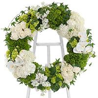 White Linen Wreath on Easel #197316 Viviano Flower Shop funeral and memorial service accent arrangement