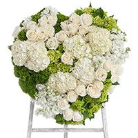 White Linen Heart on Easel #197416 Viviano Flower Shop funeral and memorial service accent arrangement