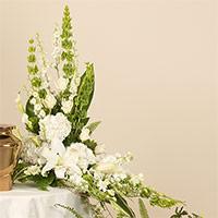 White Linen Memorial #197616 Viviano Flower Shop cremation memorial service floral accent arrangement