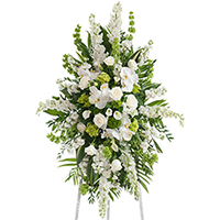 White Linen Spray on Easel #197916 Viviano Flower Shop funeral and memorial service accent arrangement