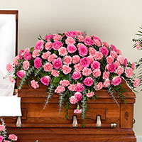 Beloved Casket Spray #198016 Viviano Flower Shop funeral service floral arrangement covering with roses, carnations